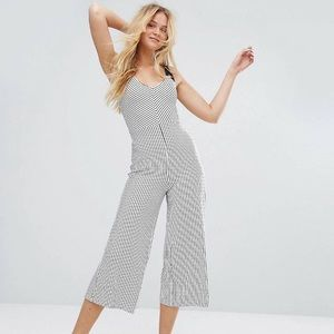 Bershka Black & White Striped Jumpsuit